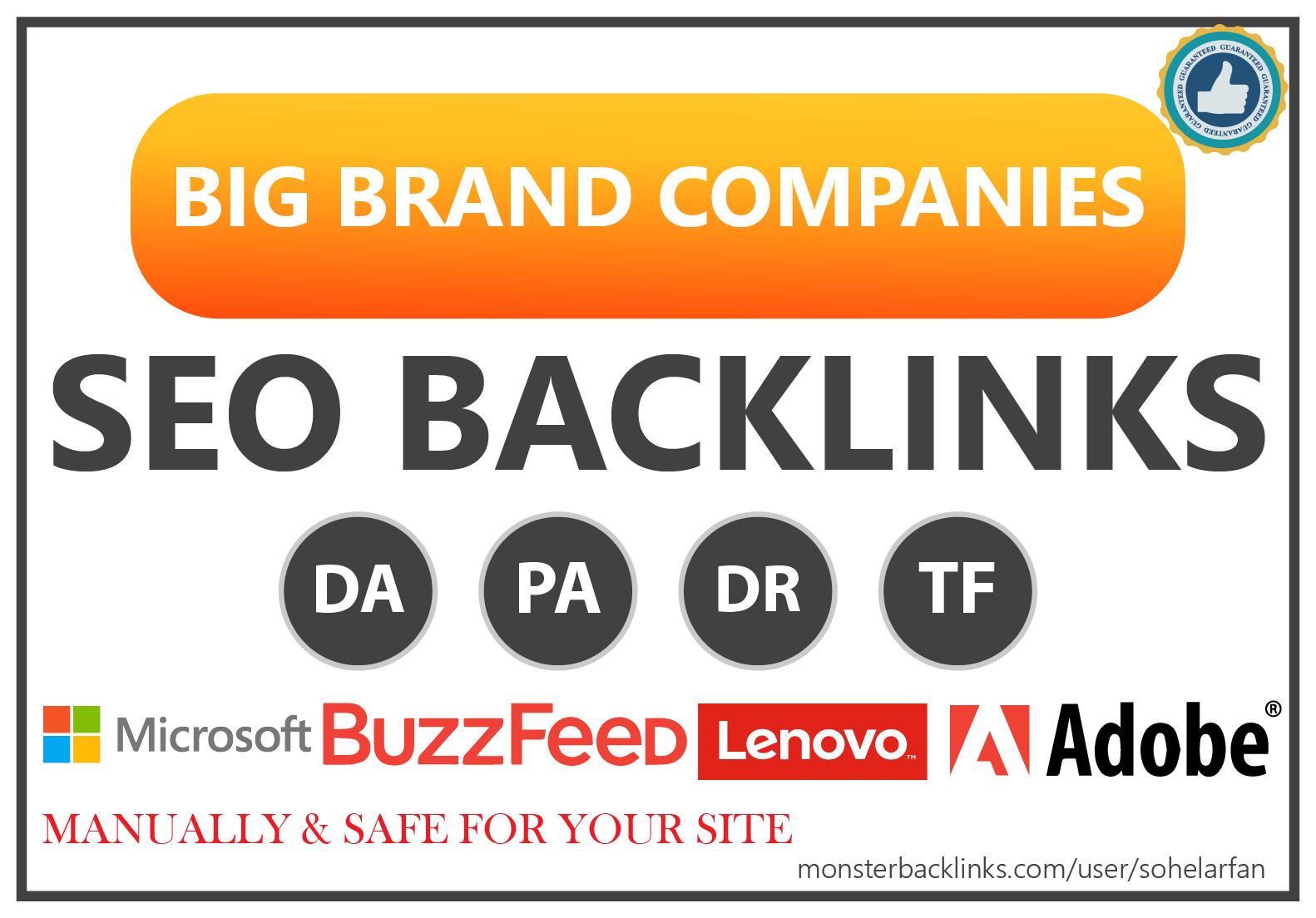 150 Big Brand Companies SEO Profile Backlinks Huge Boost in Search Engine