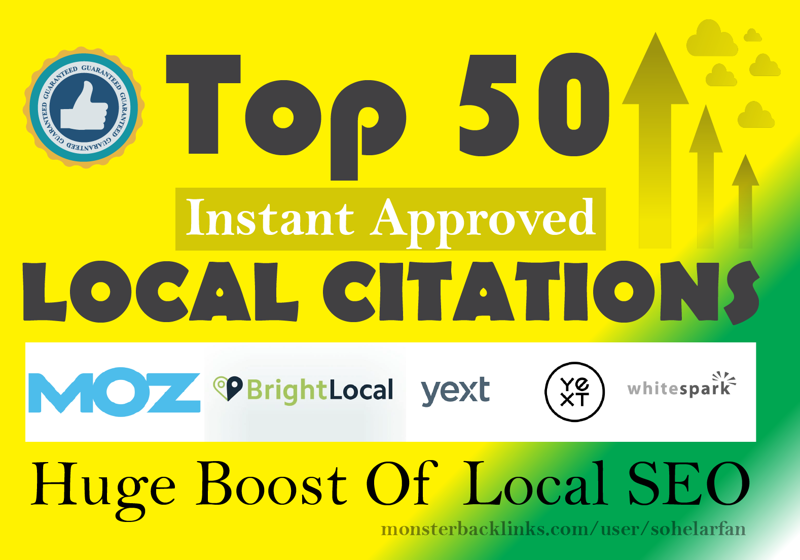 Top 50 Local SEO Citations From Moz,  Brightlocal,  yext and whitespark for Google my business Ranking