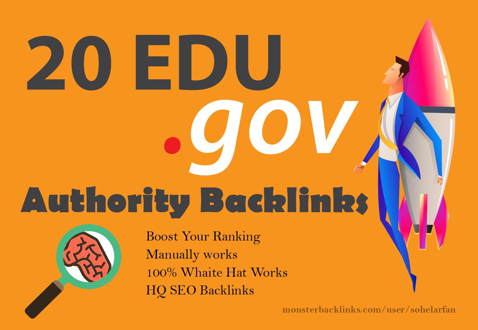 Manually Do Top 20 Edu and gov SEO Backlinks To Boost Your Website