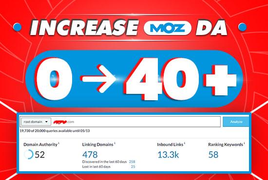 I will increase domain authority moz da to 50 plus
