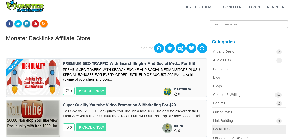 MonsterBacklinks Affiliate Store WordPress Theme