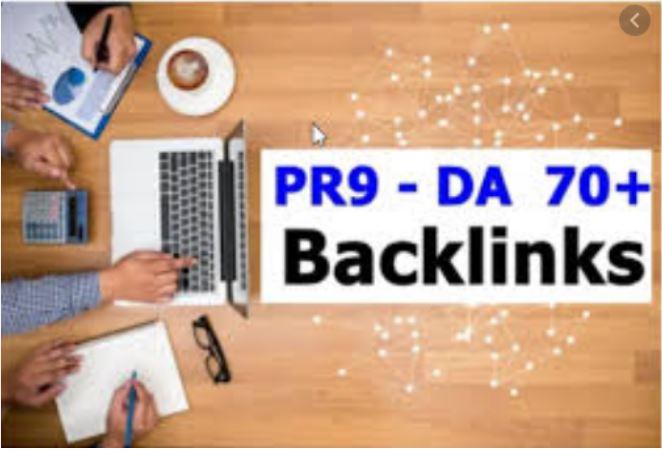 Get 10 PR9 - DA Domain Authority 70+ Backlinks for your Website