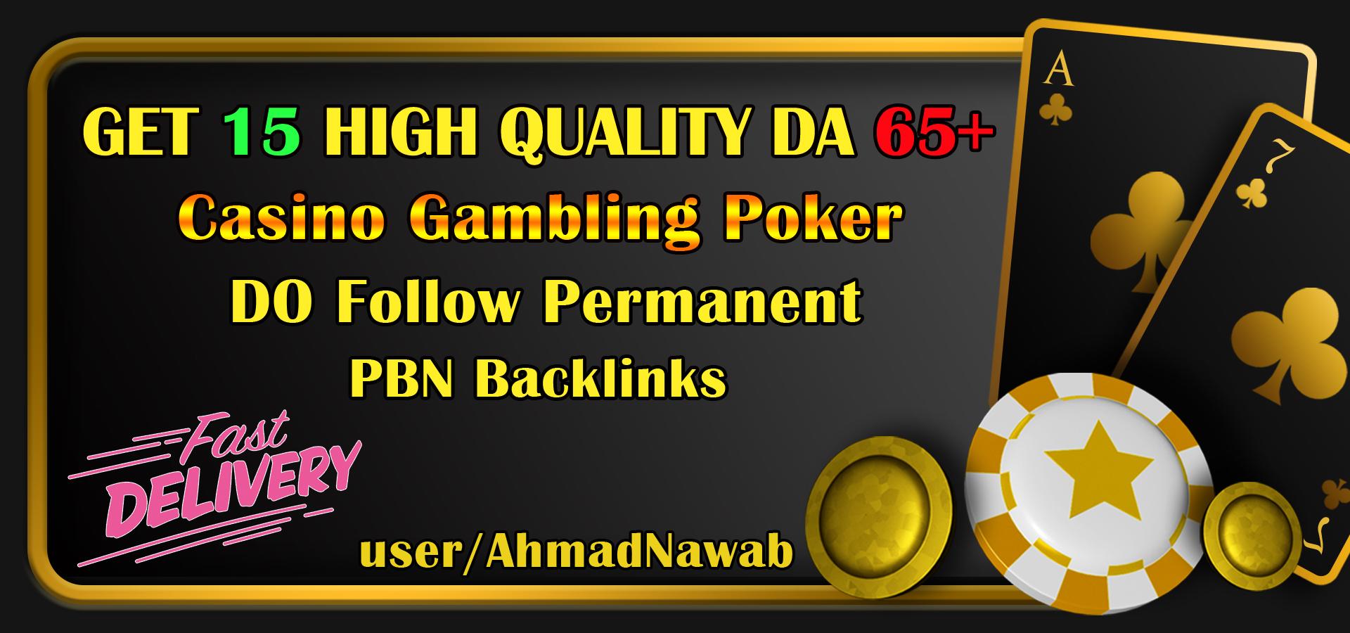 Get 15 DA 65+ plus Casino Gambling poker homepage pbn backlinks and judi related sites.