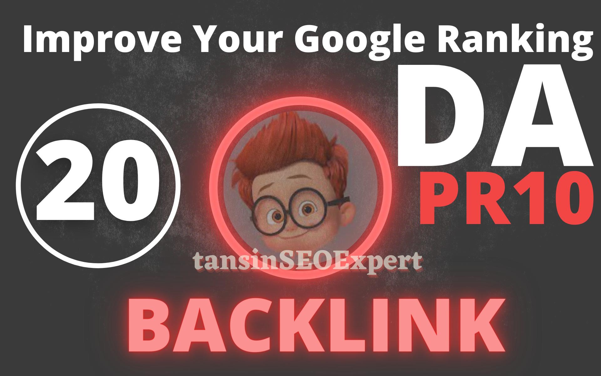 I will Manually Do 20 High Authority UNIQUE PR9 - PR10 DA Backlink For Increasing Google Ranking
