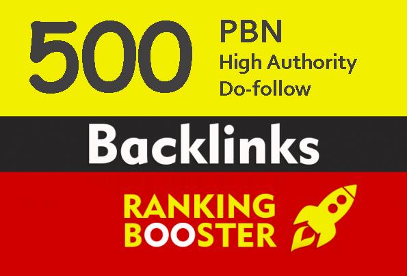 High Authority 500+ Do-follow backlink rank for google