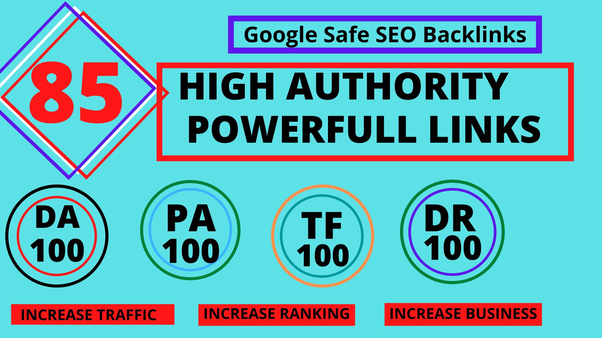TOP OFFER-Build 85 Unique Domain SEO Backlinks On TF100 DA100 Sites