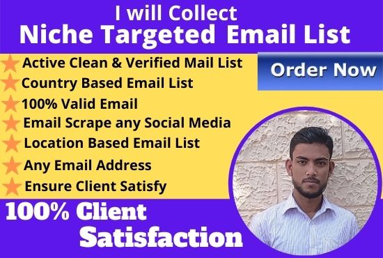 I will provide 1.5k niche targeted email list and verified bulk email collection for you