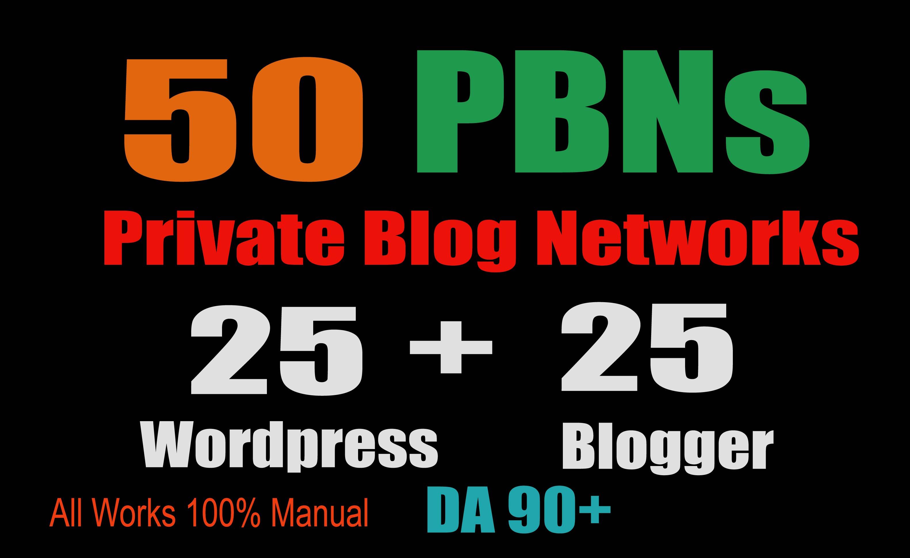 50 PBN POSTs Blogger and WordPress 90 High DA