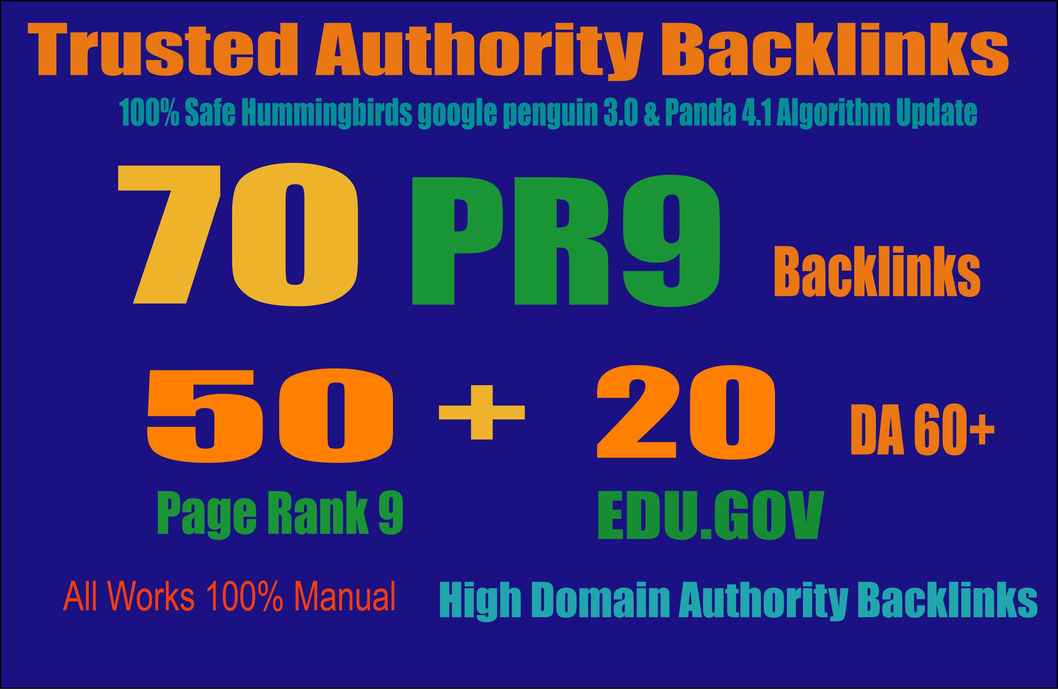 Exclusively-70 Backlinks 50 PR9 +20 EDU/GOV 80+ DA High Quality SEO Permanent Links Increase Google