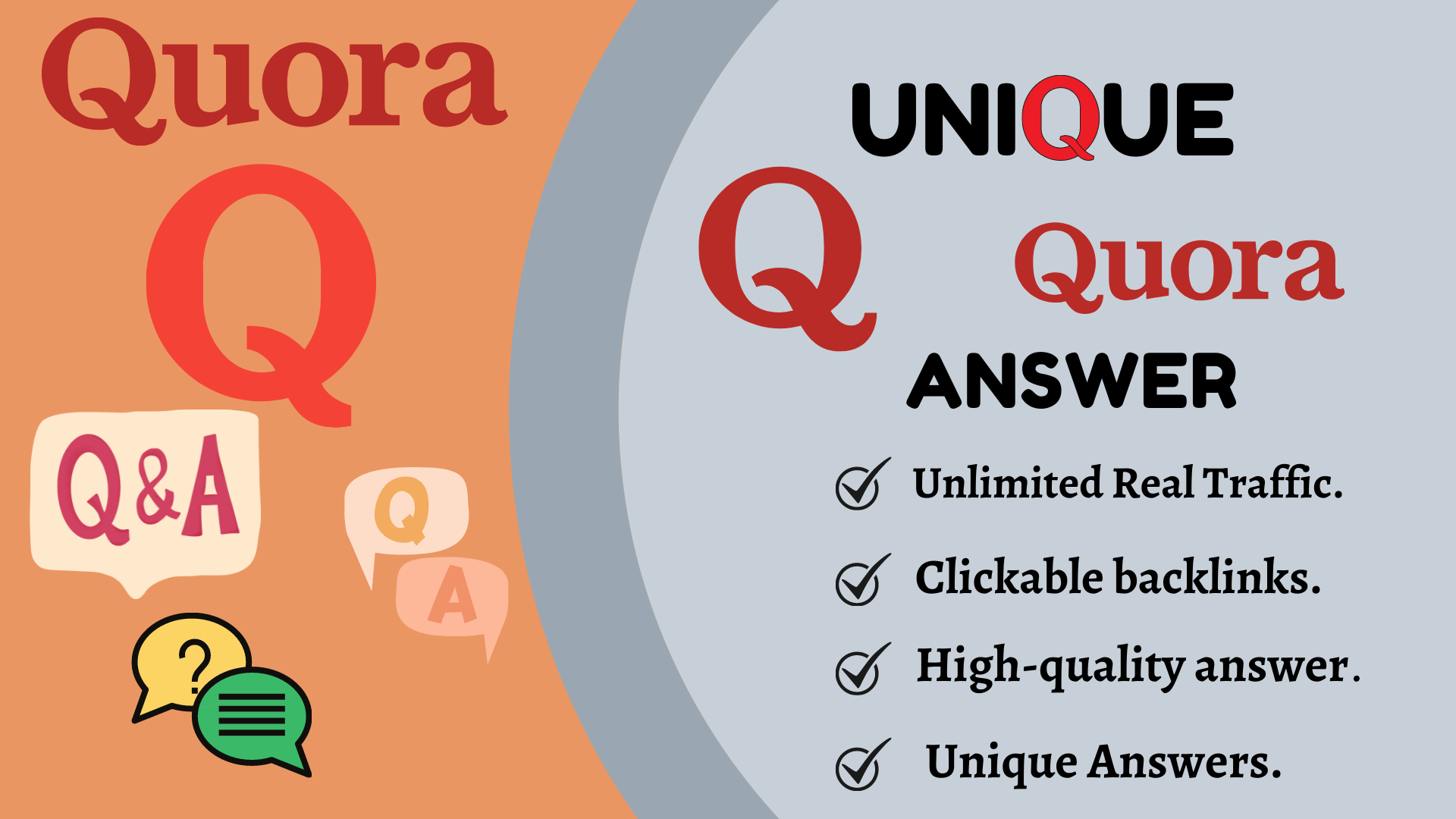 Provide Unique 50 Quora Answer With Clickable Backlinks.