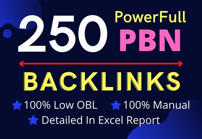 I will build 250 PowerFull Unique Domains dofollow PBN backlinks