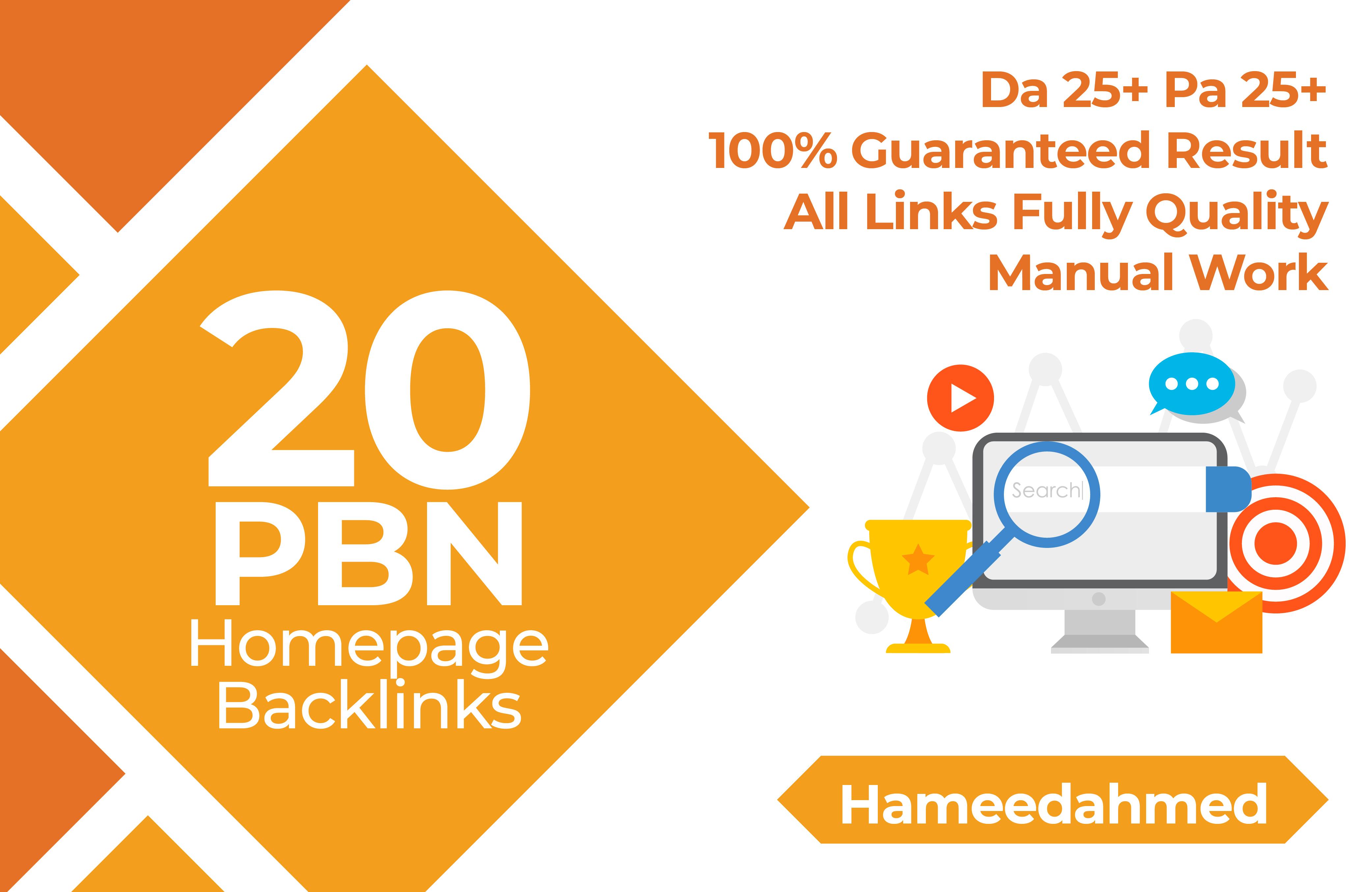 proivde 20 Manual High DA25+ PA 25 Plus Homepage PBN Dofollow Backlinks