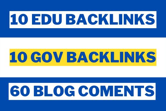 20 EDU/GOV + 60 Blog Comments With High DA PA Backlinks Total 80 Blog Comments