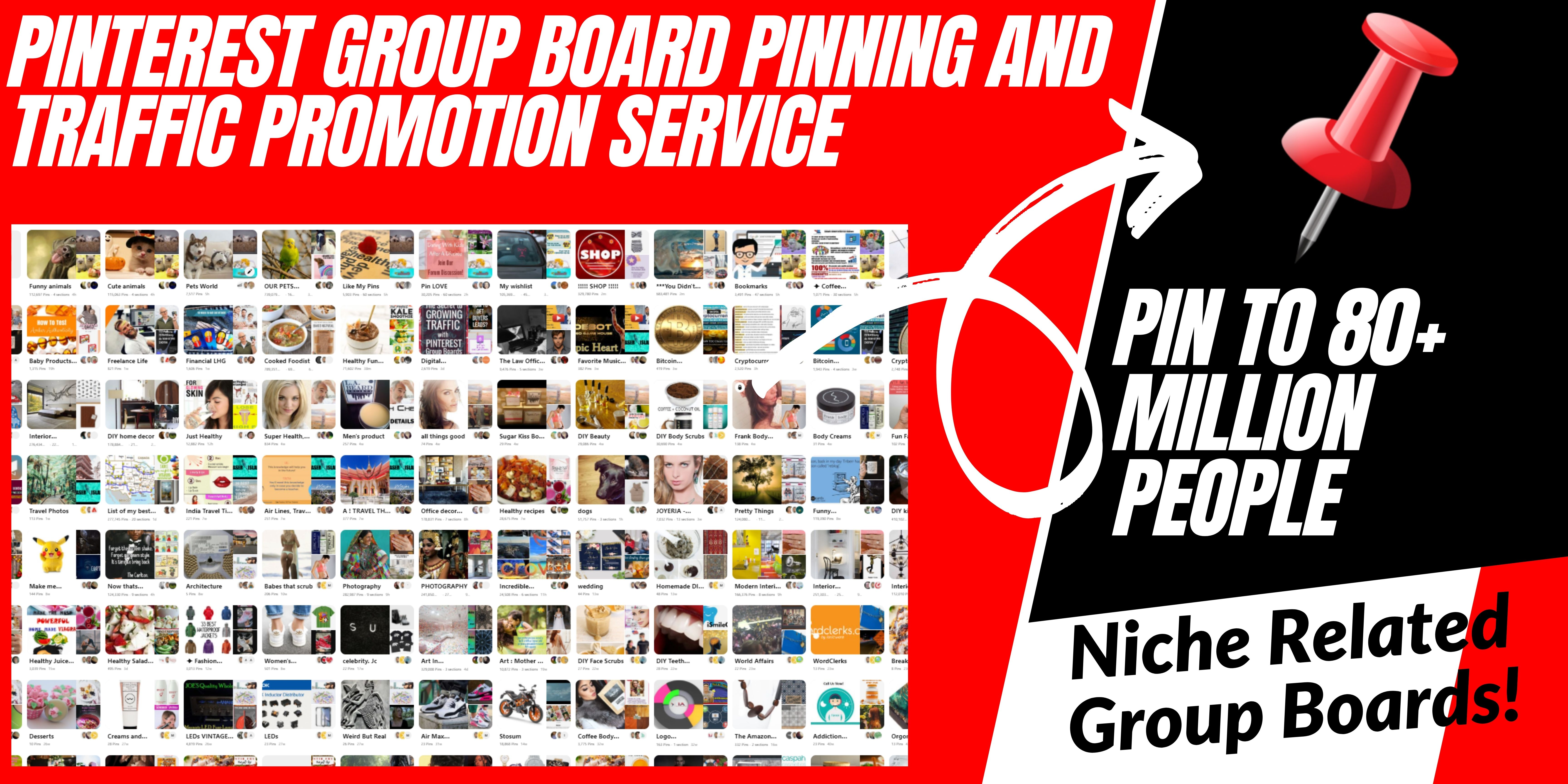 Unlimited Pinterest GROUP Board Pinning And Traffic Promotion Service