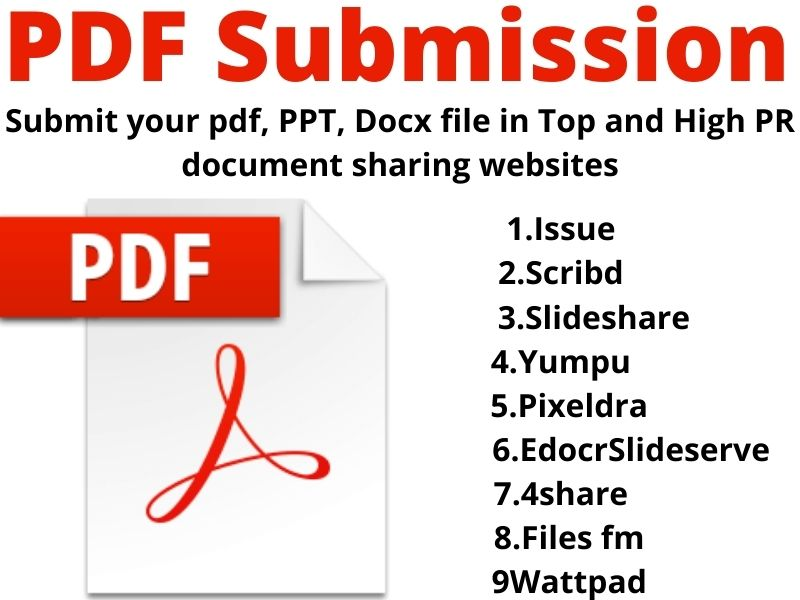 I will do Manually PDF submission to 40 high authority document sharing sites