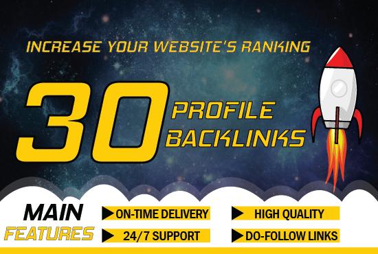 I will create 30 high quality profile backlinks