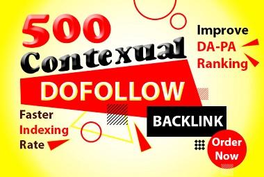 I will rank higher via 500 contextual seo dofollow multi tier natural backlinks