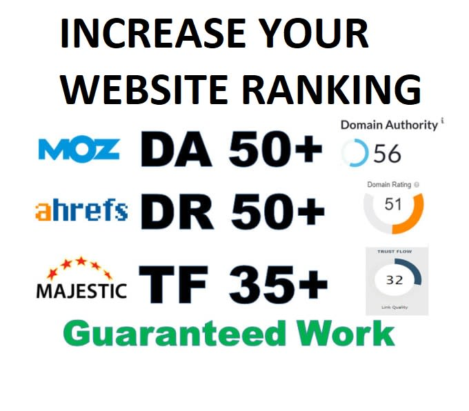 We will boost ahrefs DR,  moz da,  majestic tf high