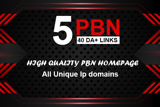 Build 5 Real 40+ DA PBN post Home page link