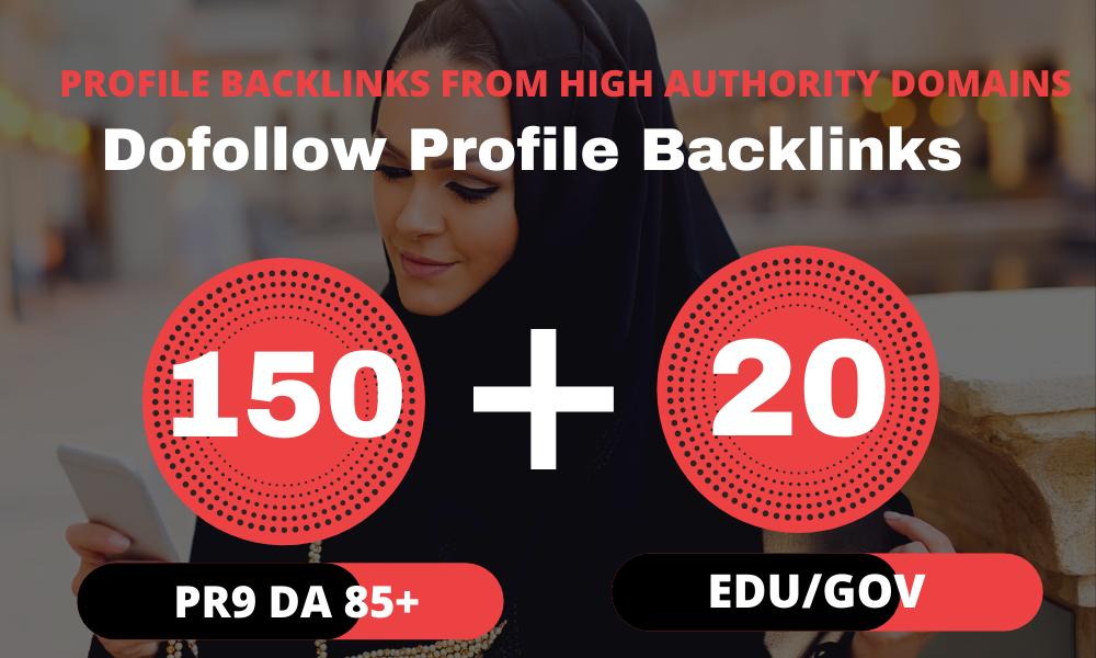 150 Pr9 + 20 Edu/Gov Pr9 High Authority Profile Backlinks