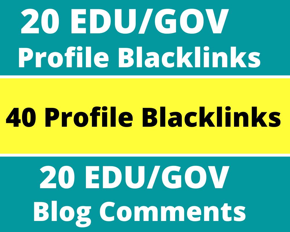 20. EDU/. GOV + 40 Profile Backlinks + 20 Blog Comments With High DA PA Backlinks Total 80 Backlinks