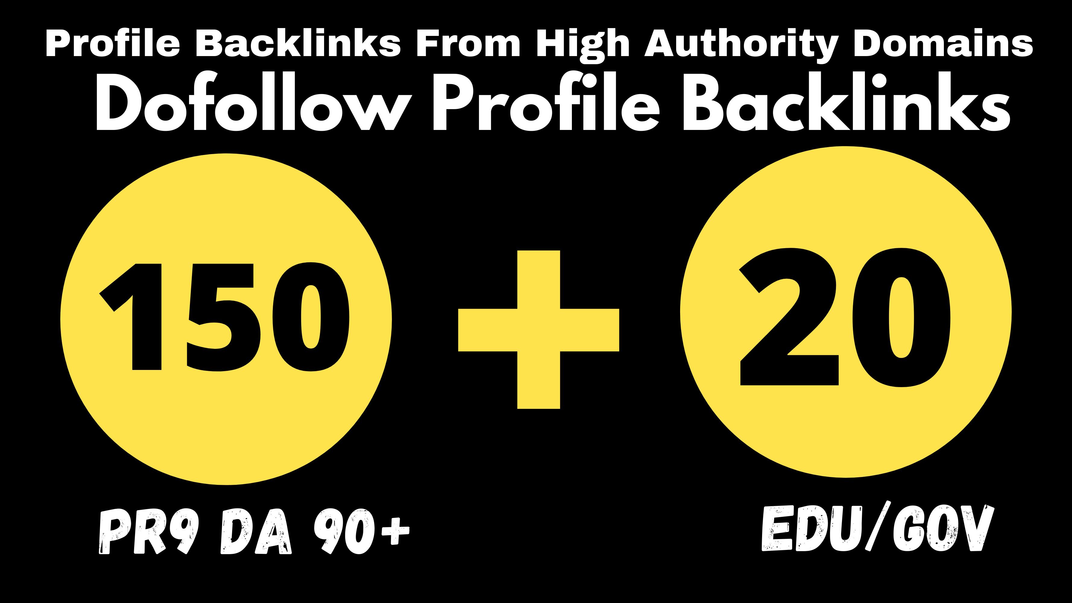 150 Pr9 + 20 Edu/Gov Pr9 High Authority Profile Backlinks-Boost Your Website Google Ranking