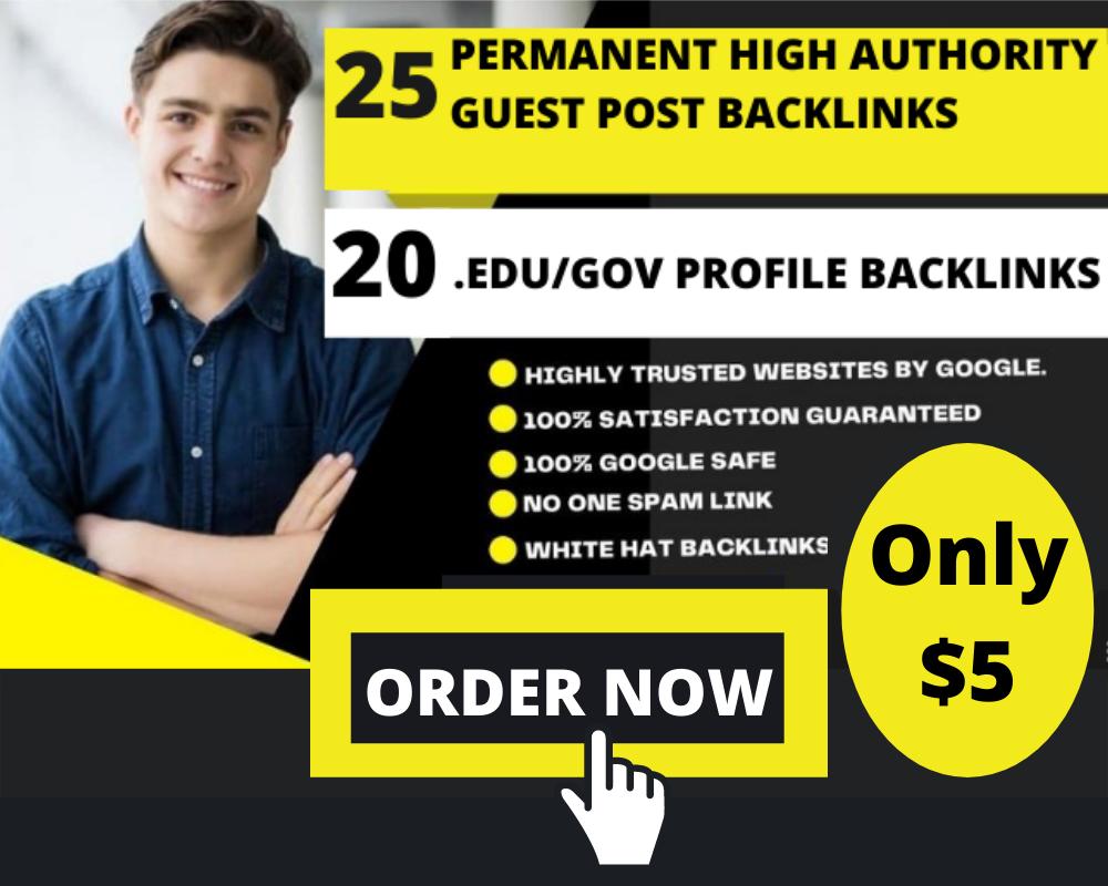 Super Powerful 25 Guest Post Backlinks DA 50 to DA 70+ 20 Edu/Gov Pr9 High Authority Profile Backlin