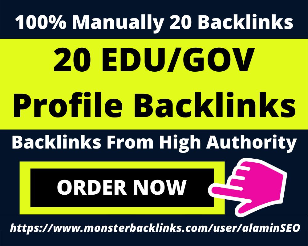 20 EDU/GOV With High DA PA Profile Backlinks