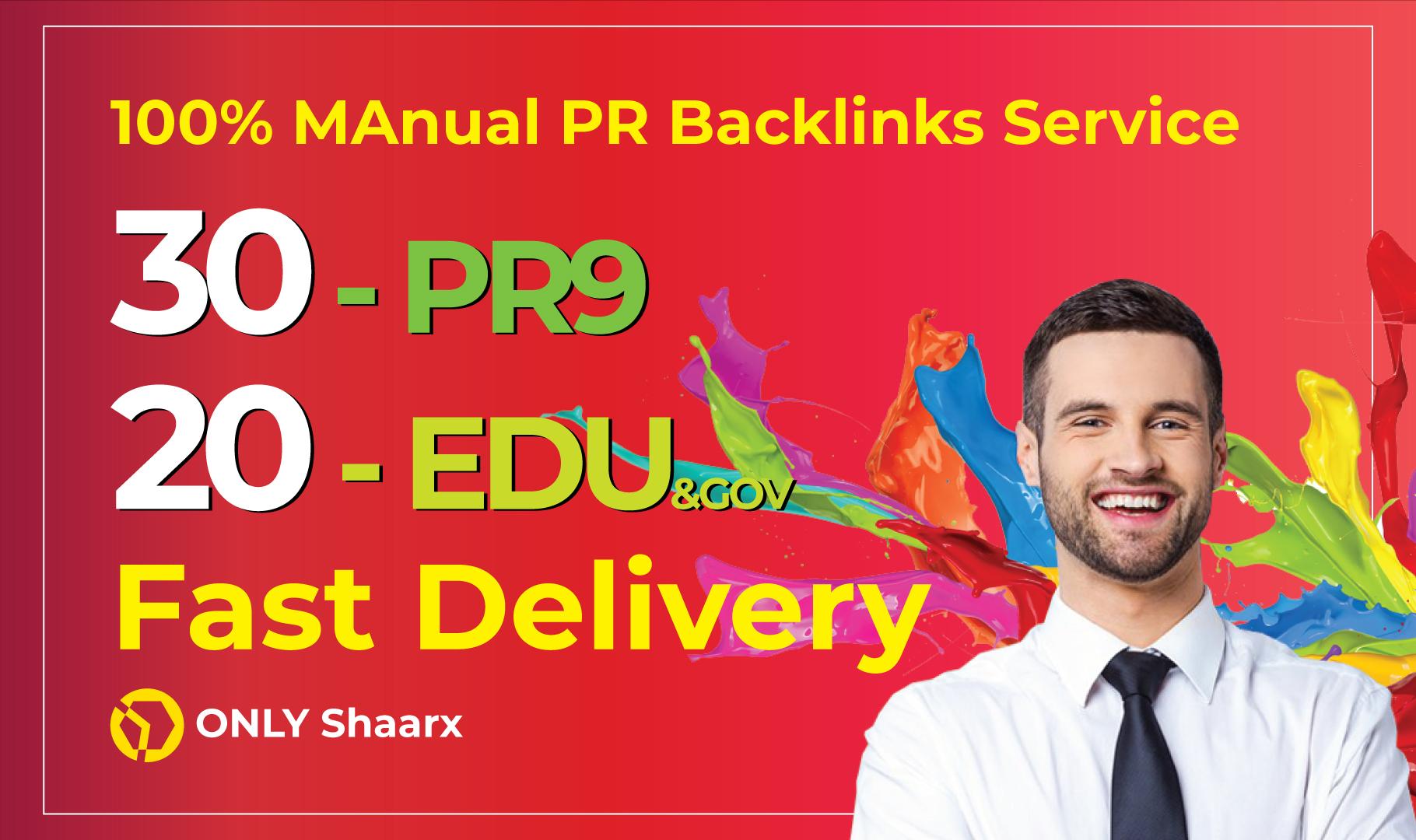 Manually Create 50 Links 30 PR9+20EDDU/GOV High Trust Authority Safe SEO Backlinks