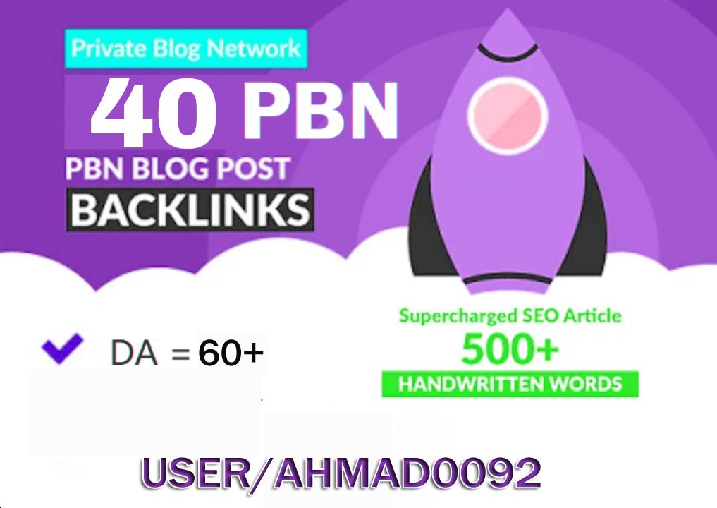 Create 40 High DA 60+ Permanent homepage pbn Backlinks.