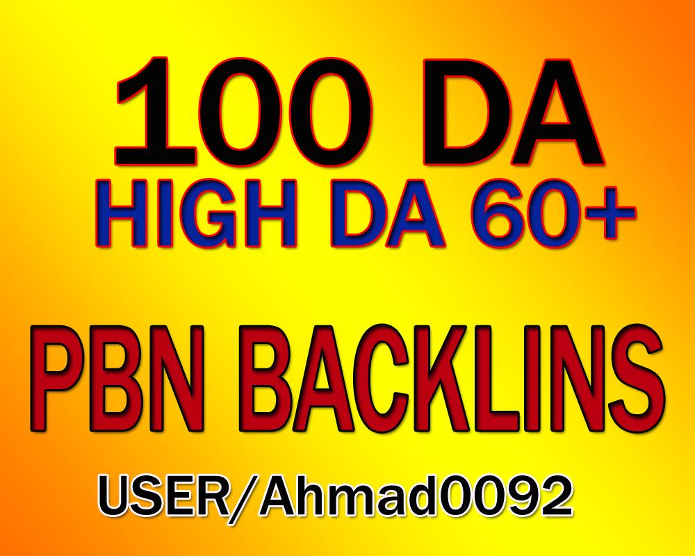 Get 100 High DA 65+ Permanent homepage PBN Backlinks.