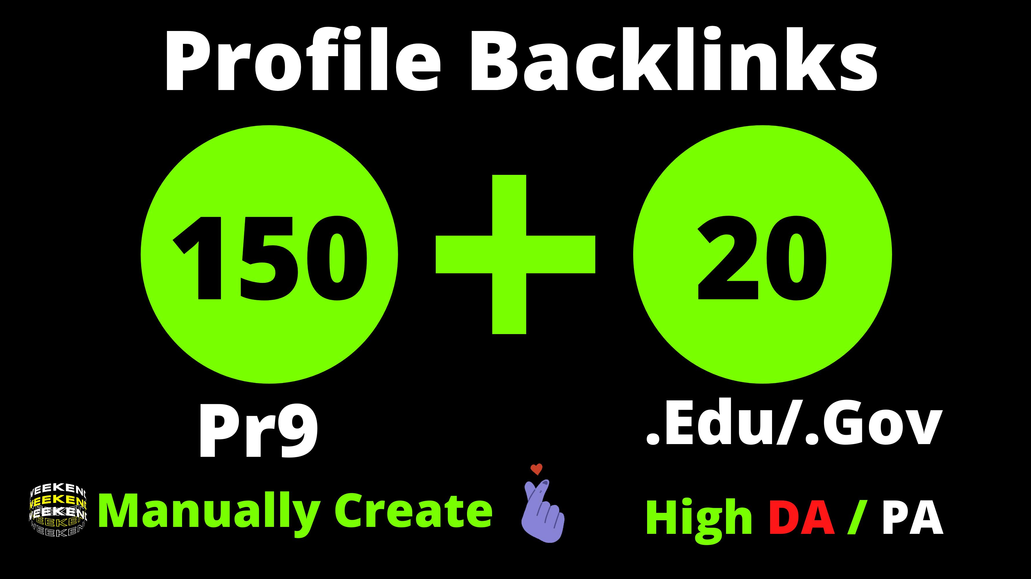 150 Pr9 + 20 Edu/Gov Pr9 High Authority Profile Backlinks & Quality Link Building