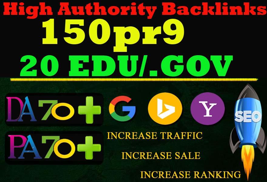I will Manually Do - 150 Pr9 + 20 Edu-Gov High Domains Authority Safe Seo Backlinks From -