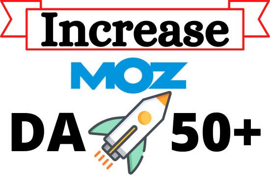I will increase moz da guaranteed work using 120 dofollow backlinks creation 80da pr9