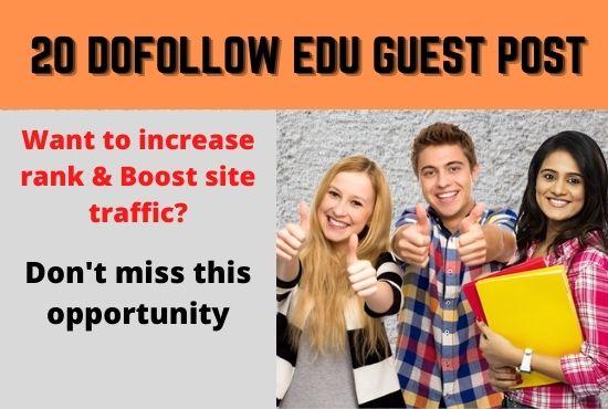 I will Provide 20 EDU guest post Backlinks