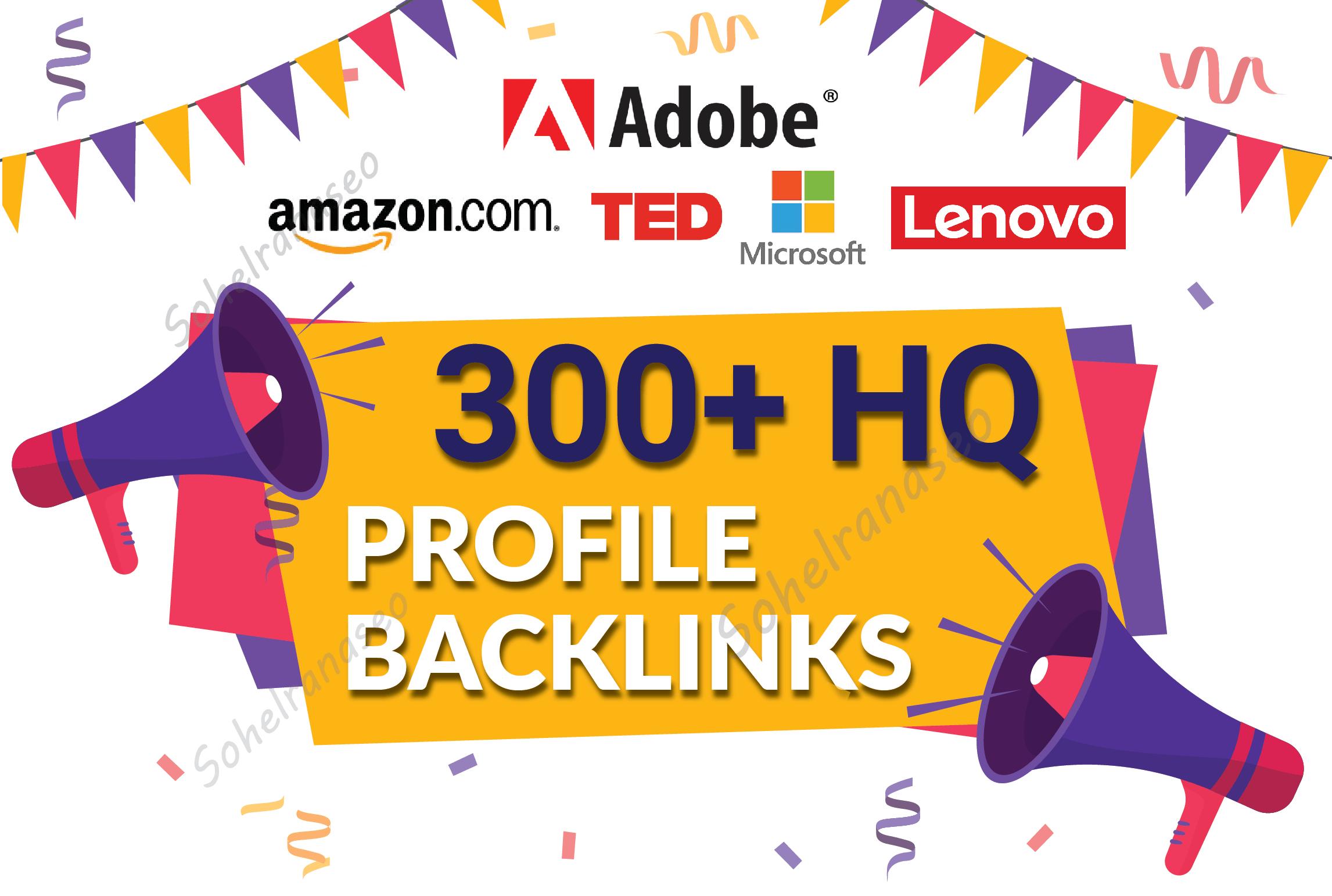 manually 300 TOP BRAND High DA,  PA,  PR9,  trust flow Profile Backlinks for website seo