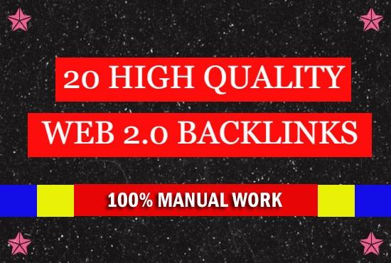 Create 20 manual web 2 0 backlinks