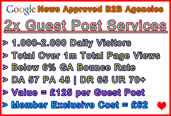 2x Guest Post Articles Published on Both Our Google News Approved B2B Agencies