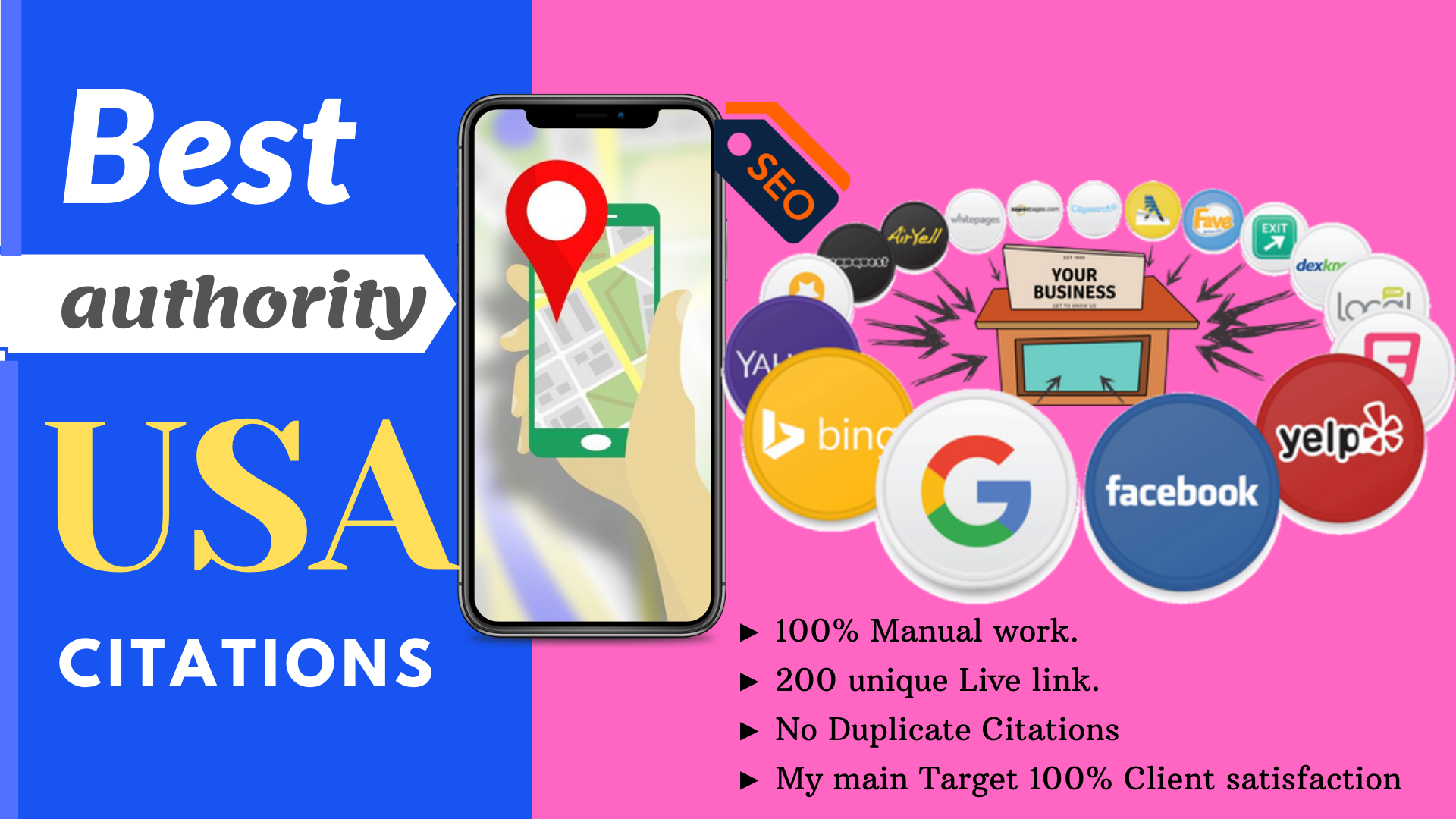Get Accurate 100 local citations or local listings for USA