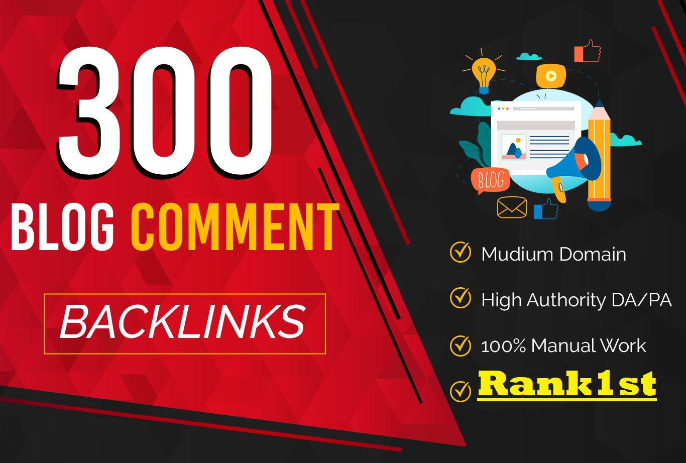 Manual 300 High DA PA Instant Approval Blog Comments Permanent SEO Backlinks