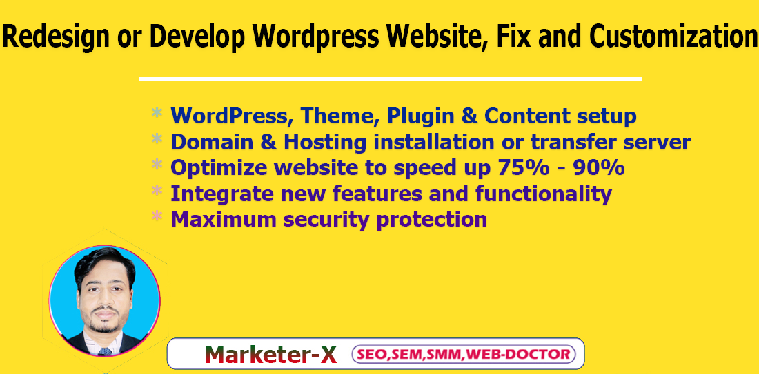I will redesign or develop WordPress website,  fix and customization