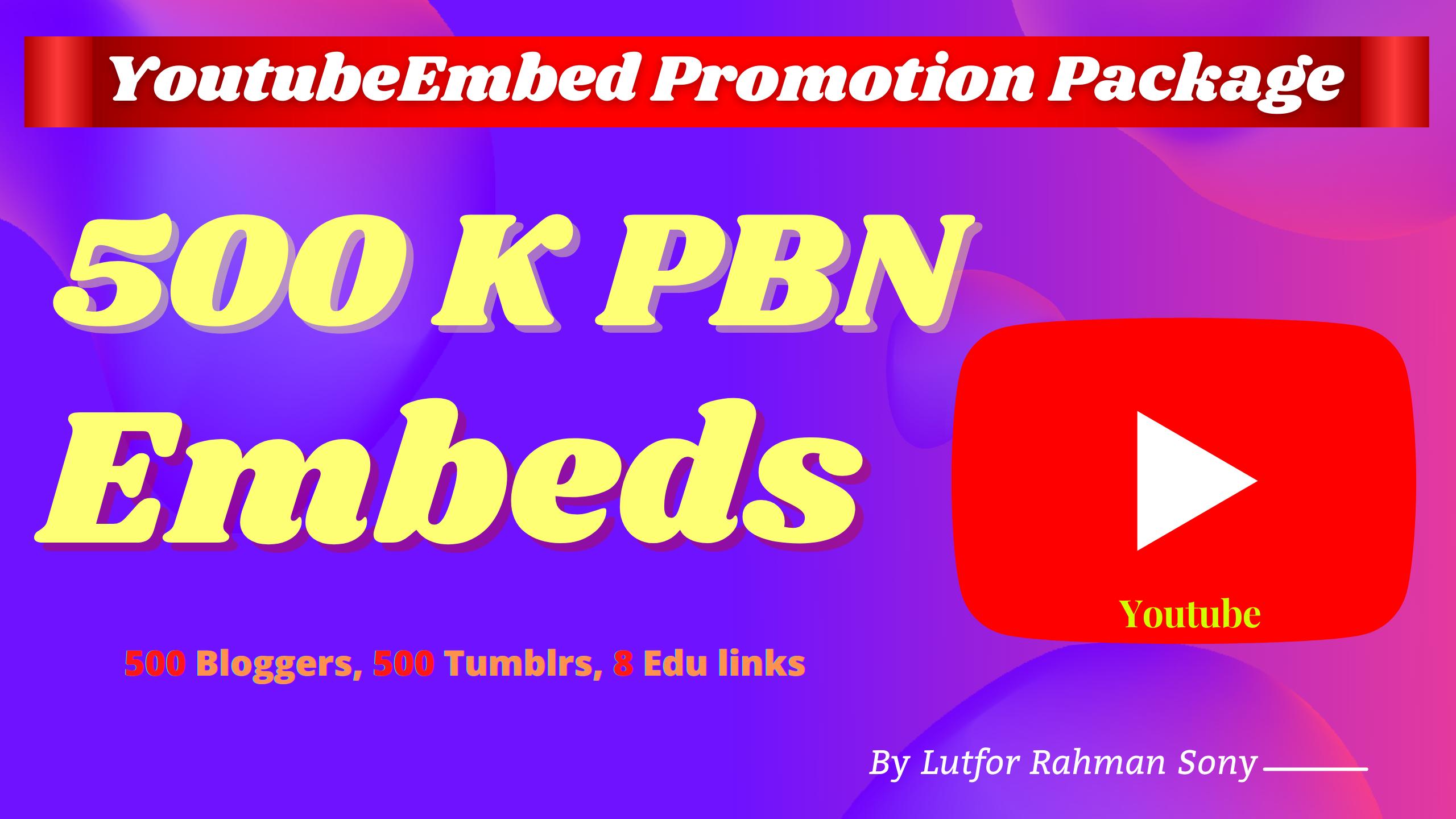 Youtube Marketing Tumblr Embed on 500 Blogger,  500 Tumblr, 500K Backlinks