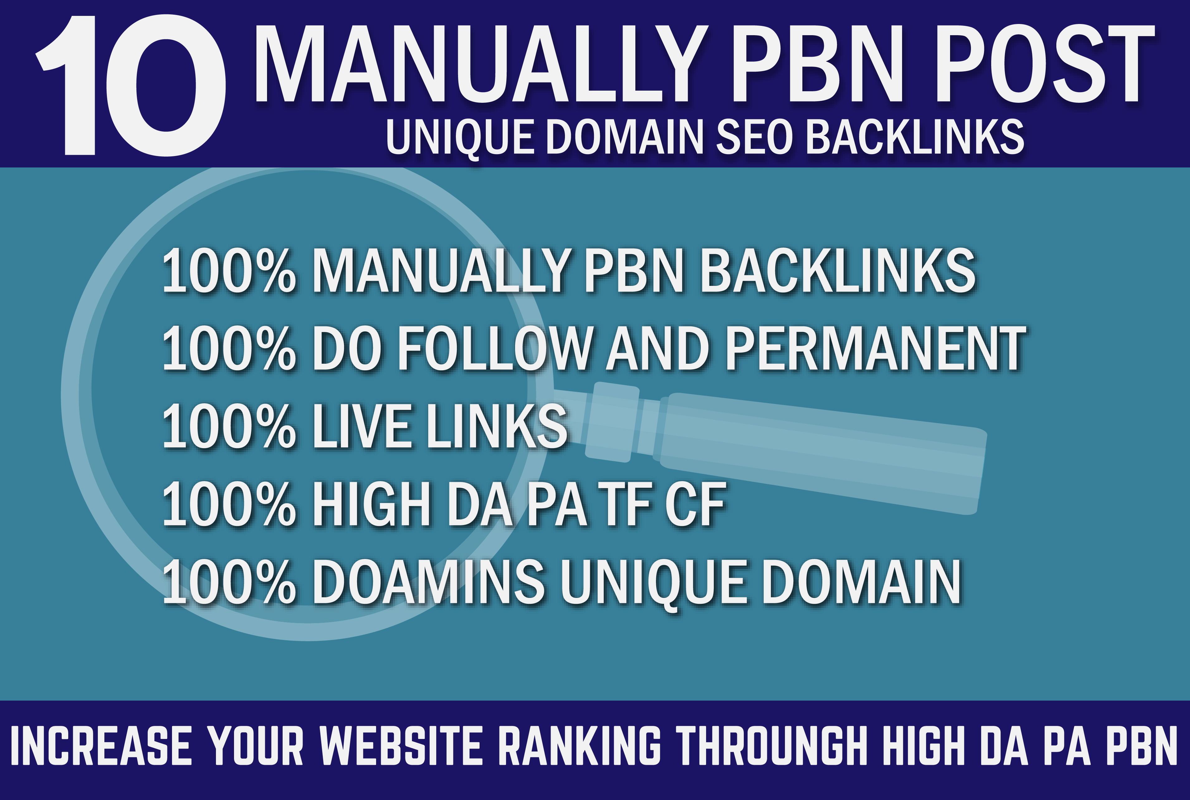 Manually 10 PBN Post SEO Backlinks On High DA 60 PA 50