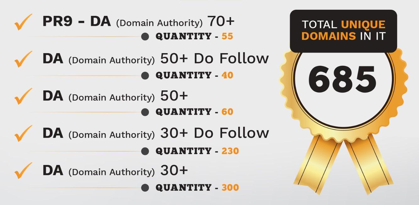 55 PR9 - DA Domain Authority 70+ Backlinks