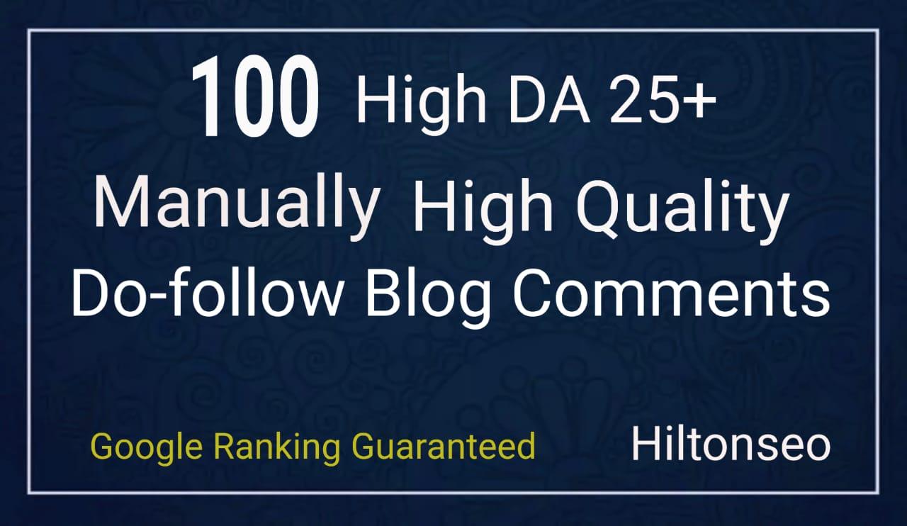 100 High DA Do-Follow Blog Comments Manually Hand Written low obls