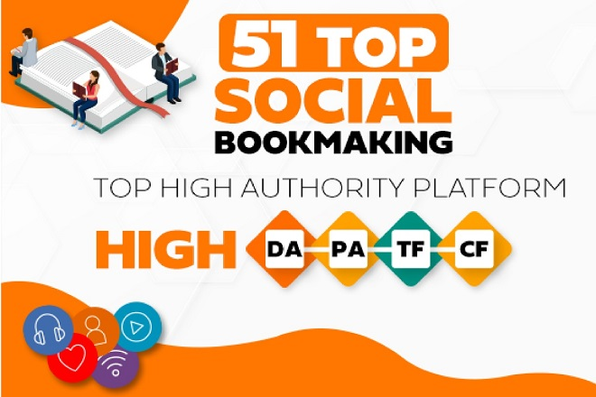 I will Create 55+ top High Authority Social Bookmarking Backling for