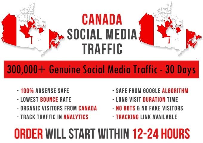 Send original 7k-300k Canada based Social Media traffic
