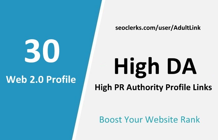 Manually Top 30 Web2.0 Profile Links From PR9 for Adult websites