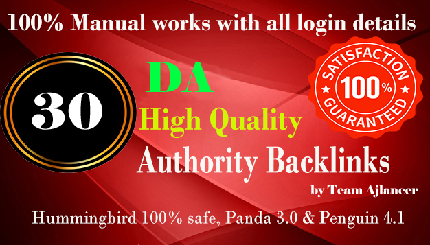 30+ backlinks from DA 50+ and 30+ both are Do-follow