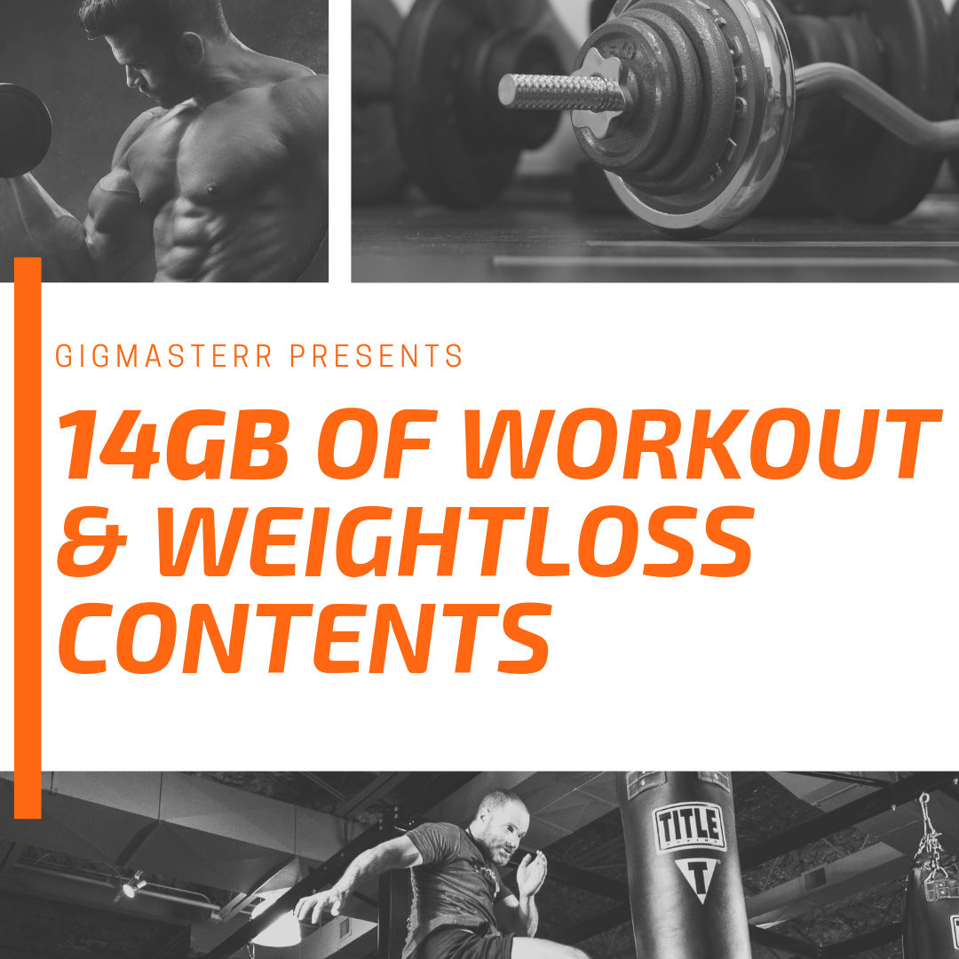 EXCLUSIVE 14 GB of workout,  fitness,  exercise,  diet,  wellness related contents